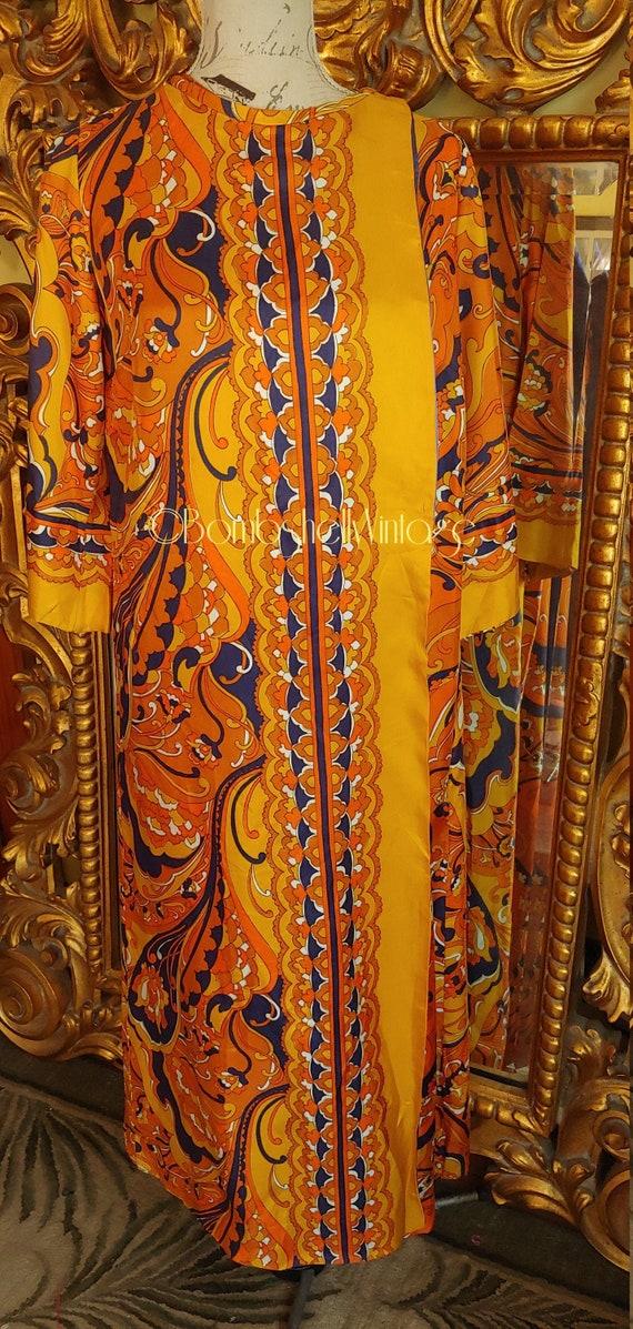Vintage 60's Kayser Silk Psychedlic Mod Caftan Kaf