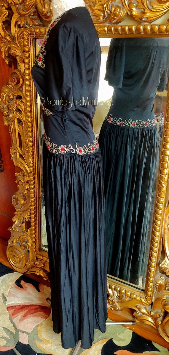 Vintage Early 40's Black Embroidered Evening Gown - image 2