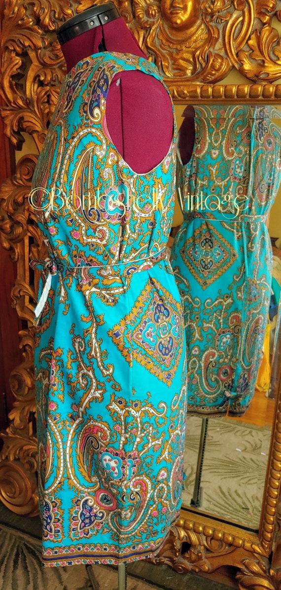 Vintage 60's Blue and Gold Pima Cotton Paisley Sh… - image 3