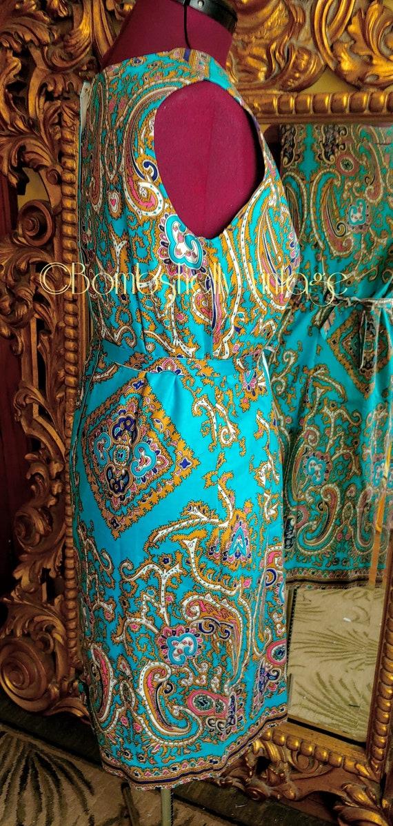 Vintage 60's Blue and Gold Pima Cotton Paisley Sh… - image 6