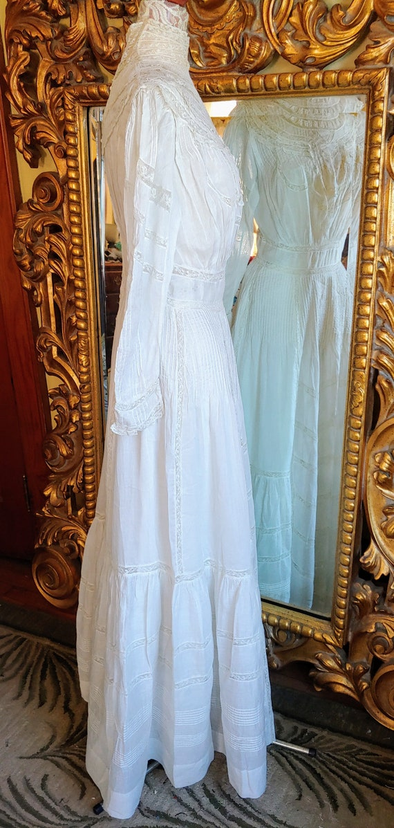 Antique 1890's White Cotton Victorian Wedding Dre… - image 4