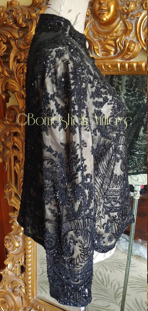 Incredible 20's/30's  Black Silk Beaded Jacket Bl… - image 2