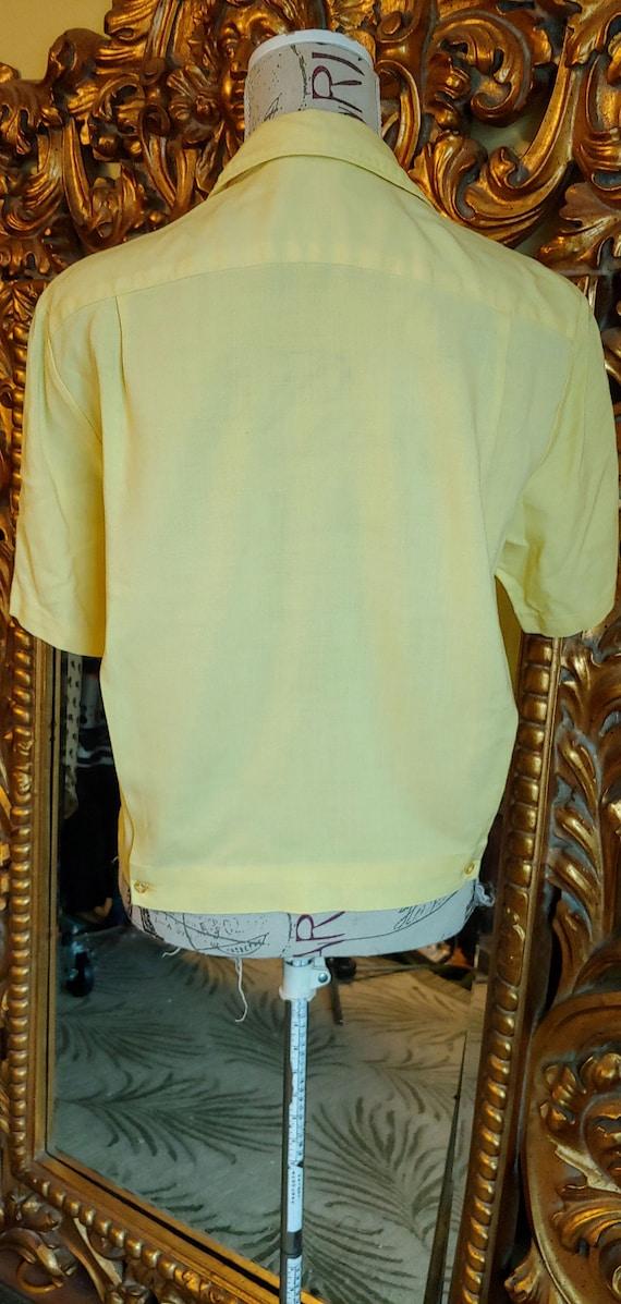 Vintage 50's Iolani Sportswear Yellow Tiki Shirt … - image 6
