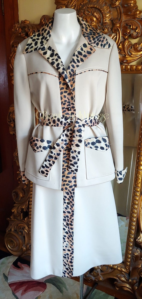 Vintage 70's Lilli Ann Knit 3 Piece Suit with Sati