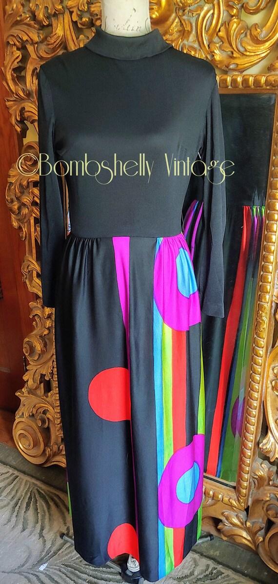 Vintage 60's Mod Colorful Geometic Maxi Dress
