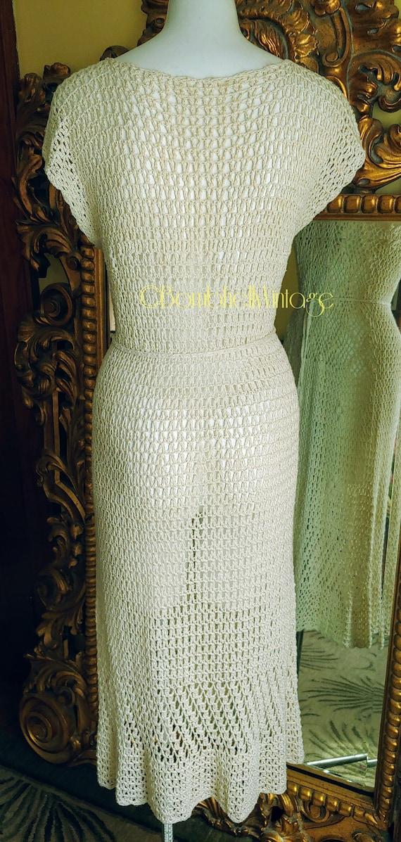 Vintage 70's Natural Cotton Crochet Dress - image 5