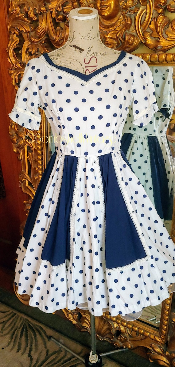 Vintage Navy Blue and White Polka Dot Square Dance