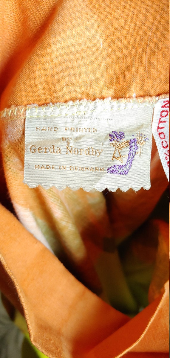 Vintage 60's Hand Screened Gerta Nordby Denmark R… - image 9