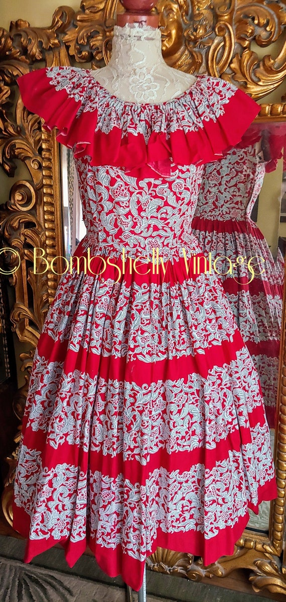 Vintage 50's Red and White Patio Dress