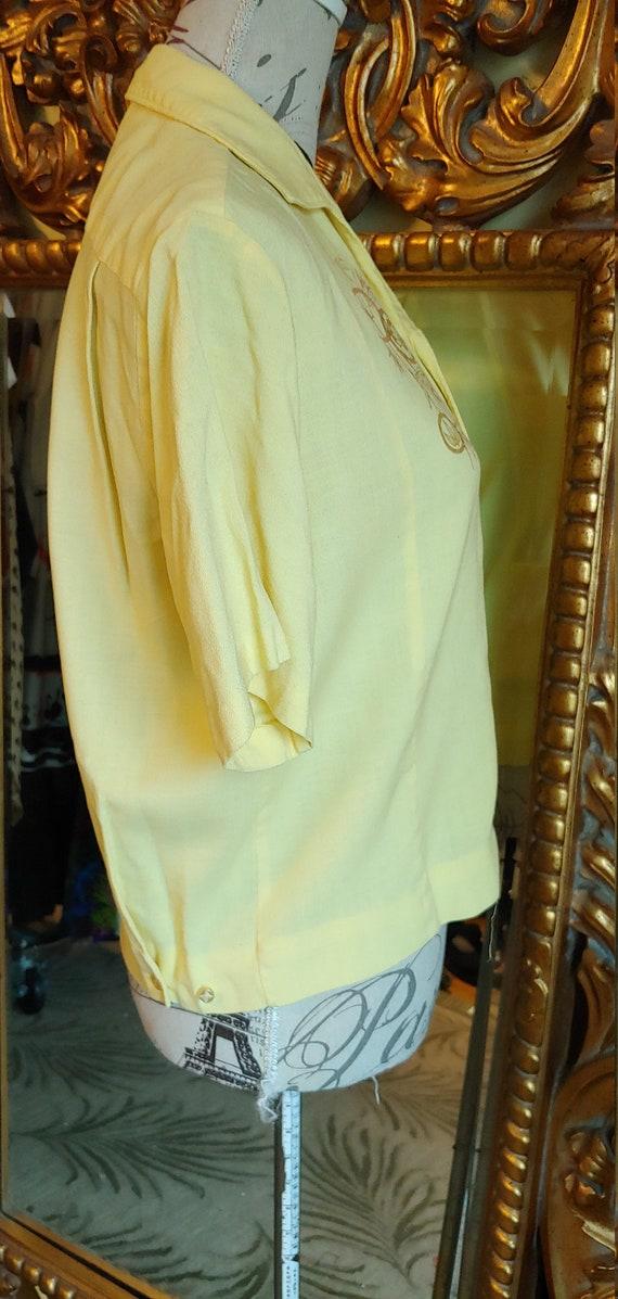 Vintage 50's Iolani Sportswear Yellow Tiki Shirt … - image 7