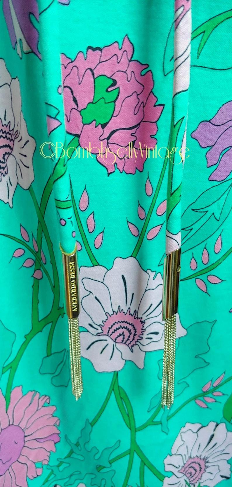 Vintage 70/'s Alverado Bessi Designer Cotton Jersey Beaded Shift Dress with Tassel Belt