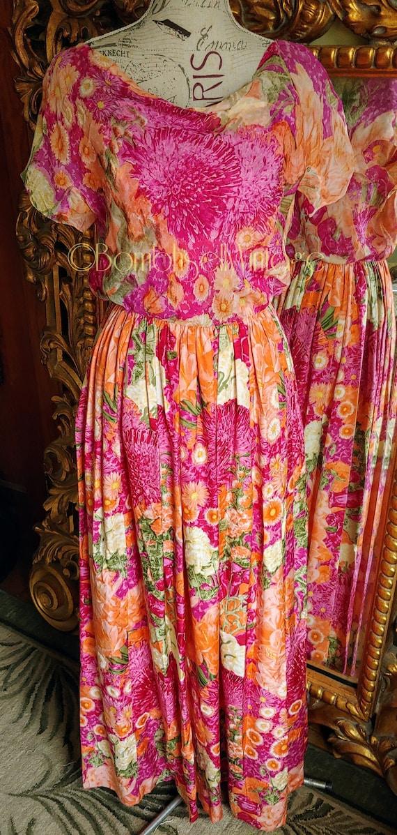 Vintage 60's Designer Fernando Sarmi Vibrant Silk