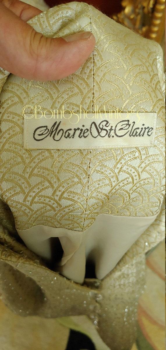 Vintage 60's Marie St. Claire Pale Gold Satin Emb… - image 8
