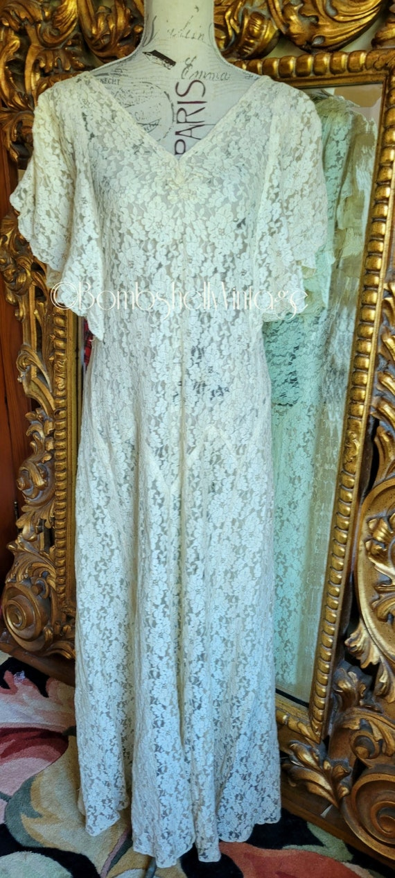 Vintage 1930's White Lace Gown