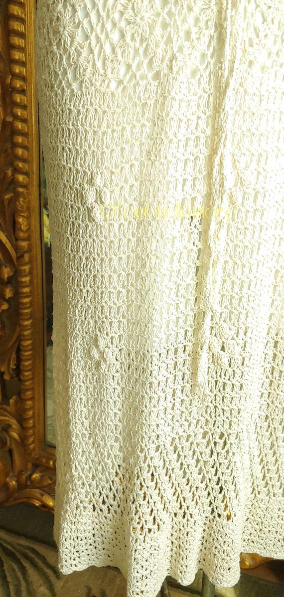 Vintage 70's Natural Cotton Crochet Dress - image 2