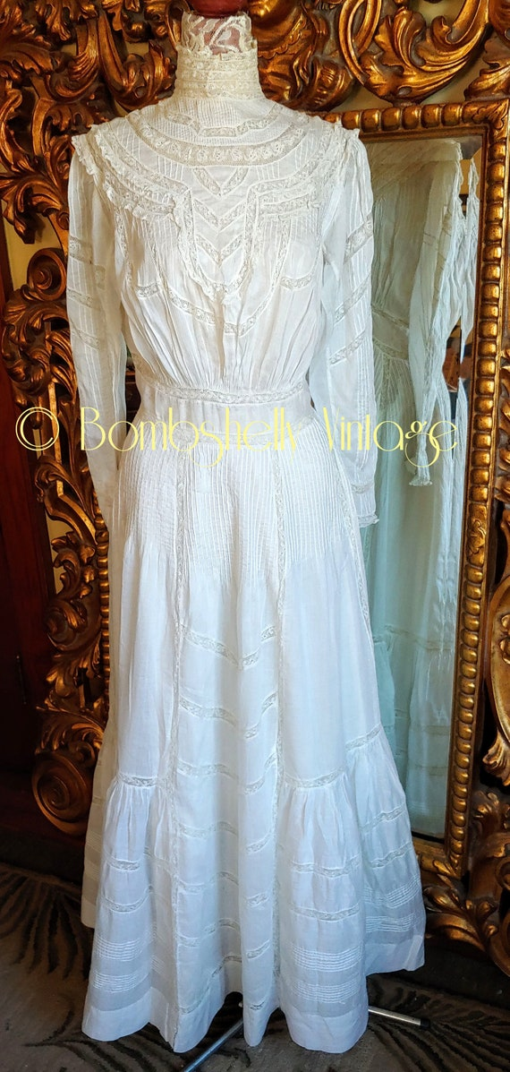 Antique 1890's White Cotton Victorian Wedding Dre… - image 2