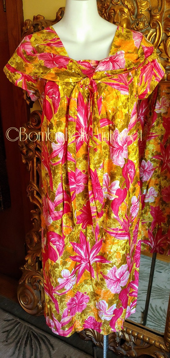 Vintage 60's Pima Cotton Chartreuse and Pink Hawa… - image 1
