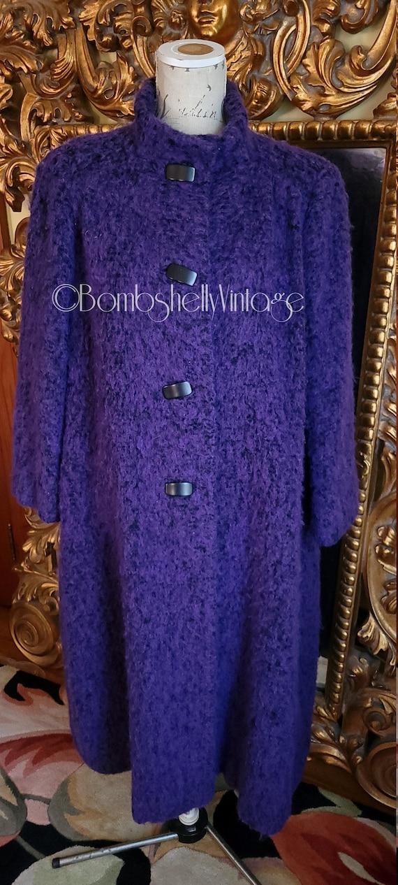 Vintage 80's Purple Boucle A Trigére Coat Pauline