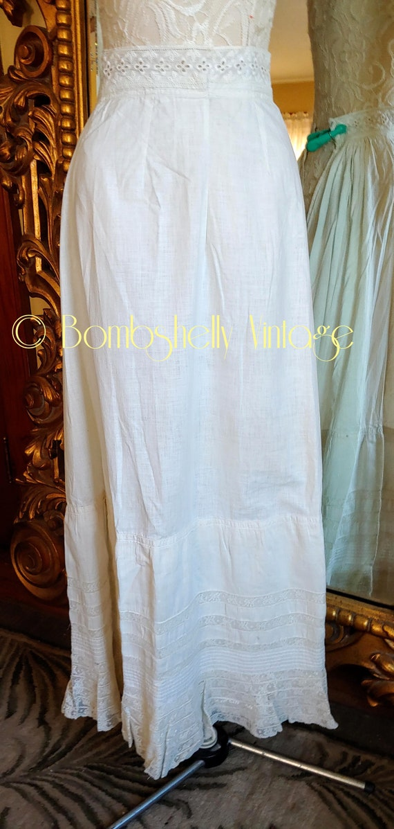 Antique 1890's White Cotton Victorian Wedding Dre… - image 10