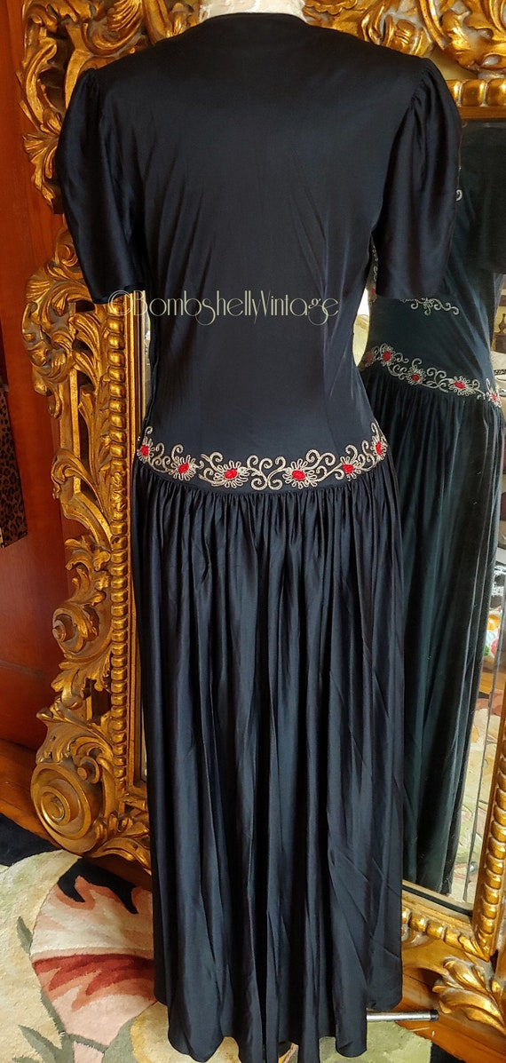 Vintage Early 40's Black Embroidered Evening Gown - image 3