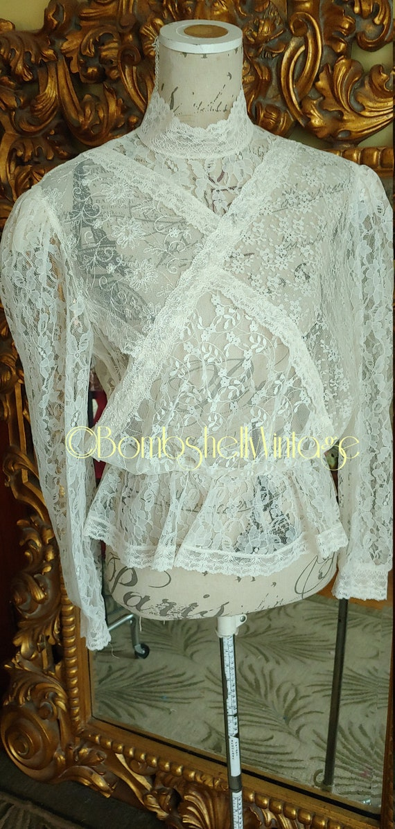 Vintage 70's Notches White Lace High Collar Peplum