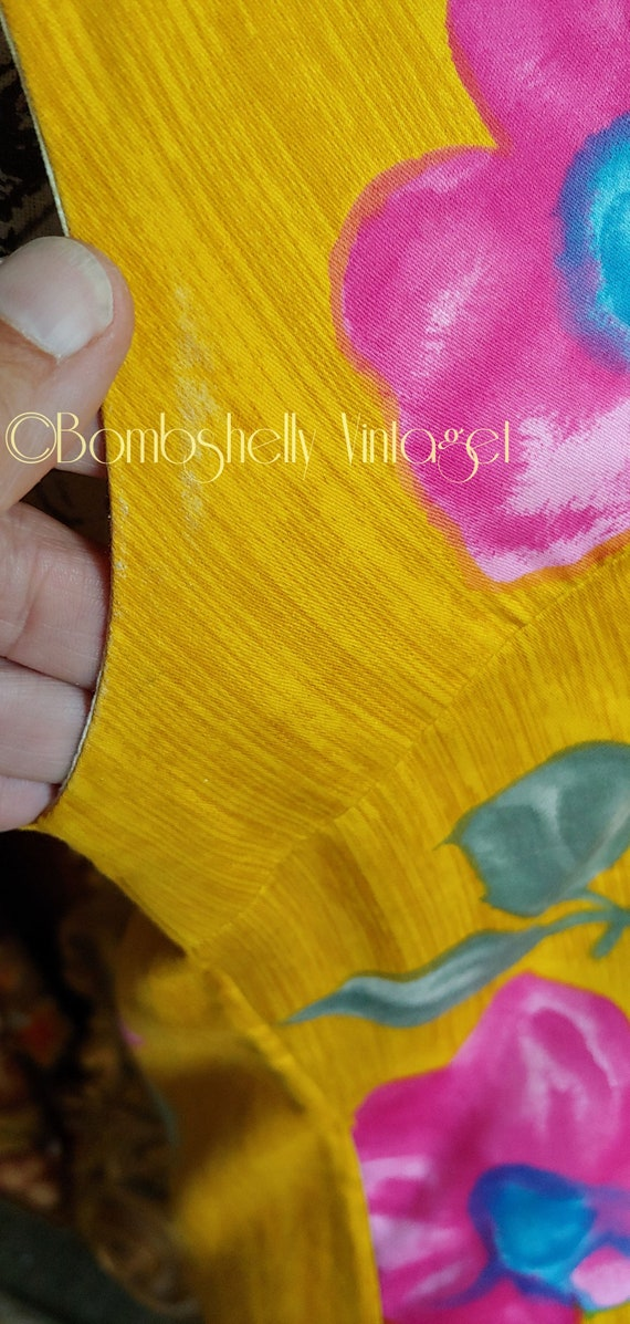 Vintage 60's Hand Screened Gold Floral Pima Cotto… - image 6