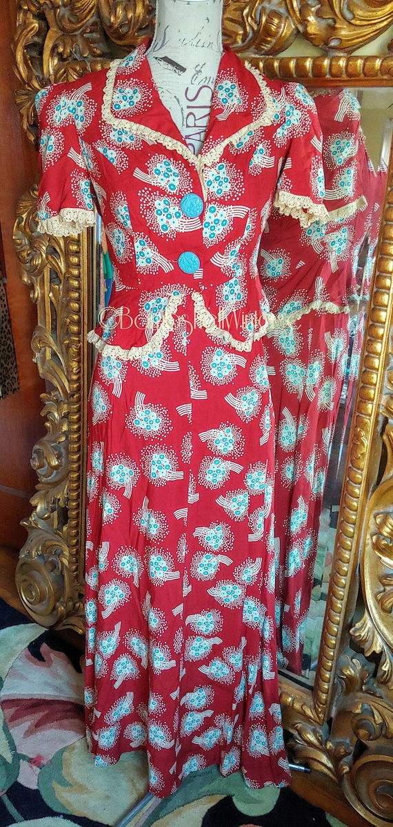 Vintage 70's does 30's Red and Blue Floral Open Ba
