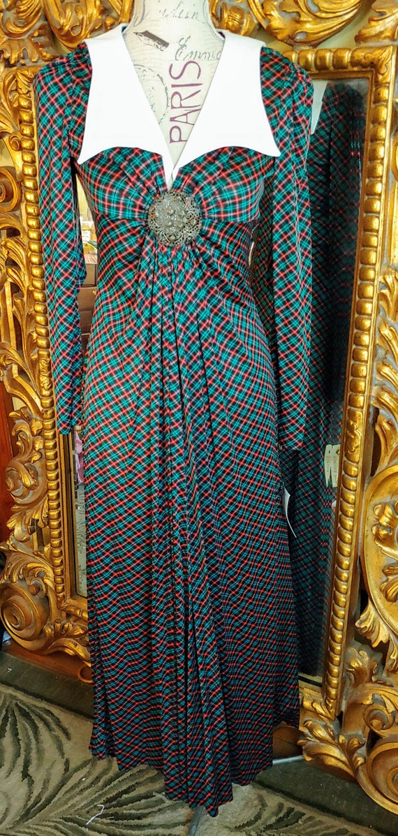 Vintage 1970's Corky Craig Green & Red Plaid Maxi
