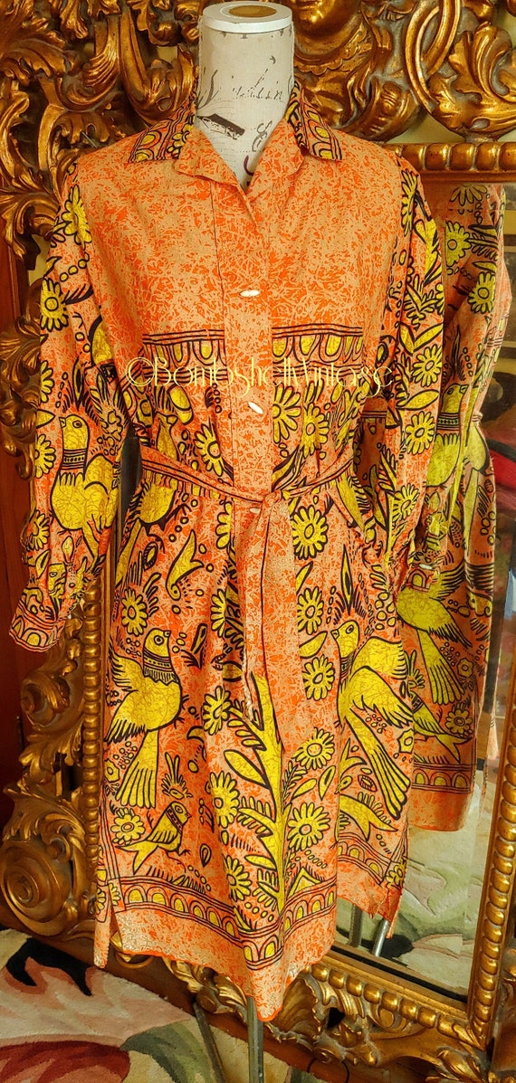 Vintage 70's Mod Orange and Yellow Bright Dove and