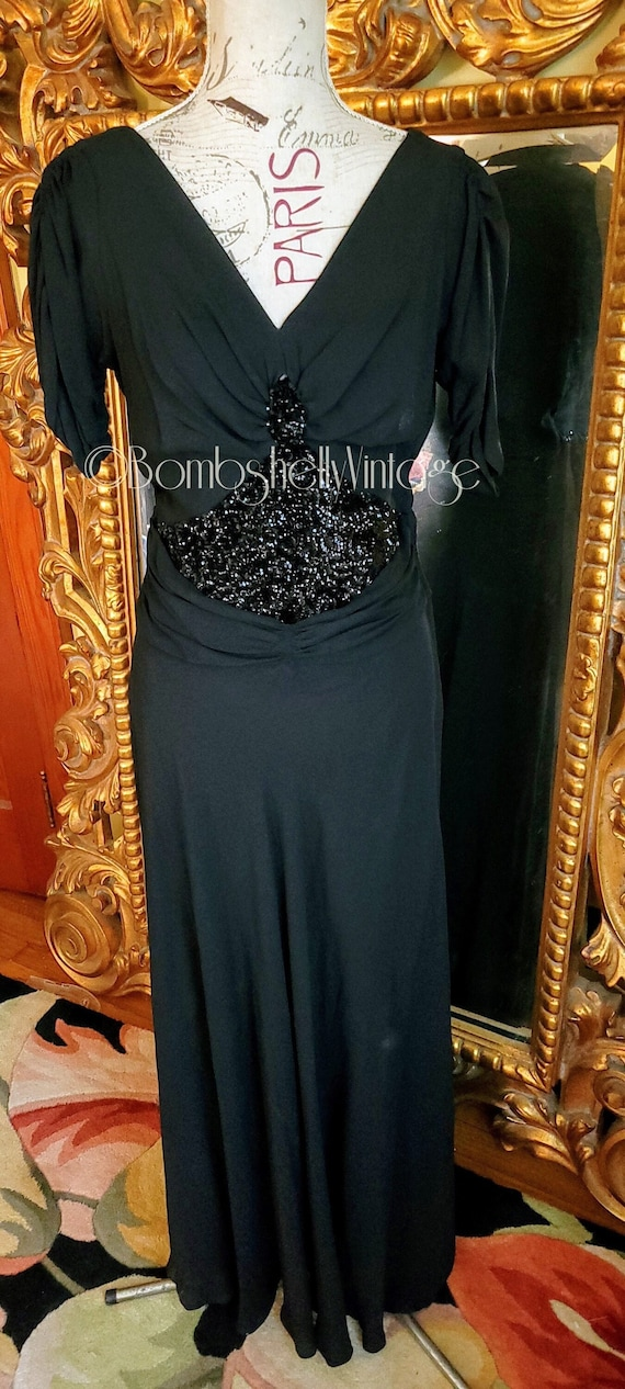 Vintage 40's Black Rayon Crepe Sequined Gown