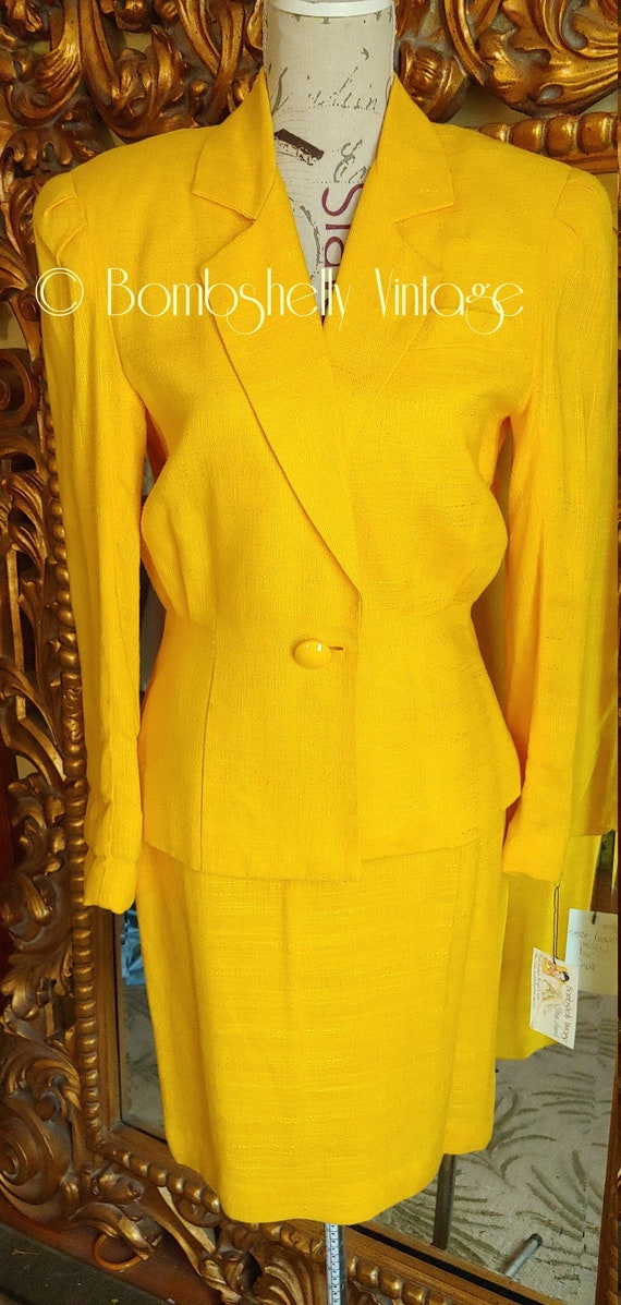 Vintage 80's Sunflower Yellow 40s Style Skirt Suit