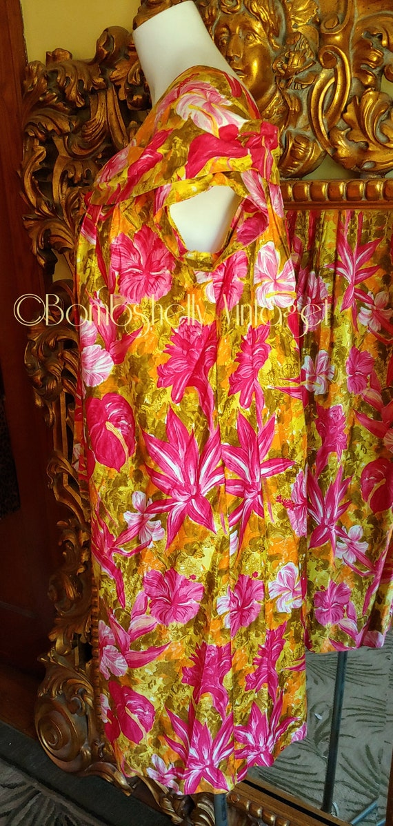 Vintage 60's Pima Cotton Chartreuse and Pink Hawa… - image 4