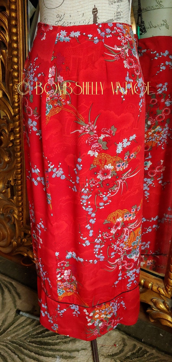Vintage 80's CLIO Red Asian Print Straight Skirt