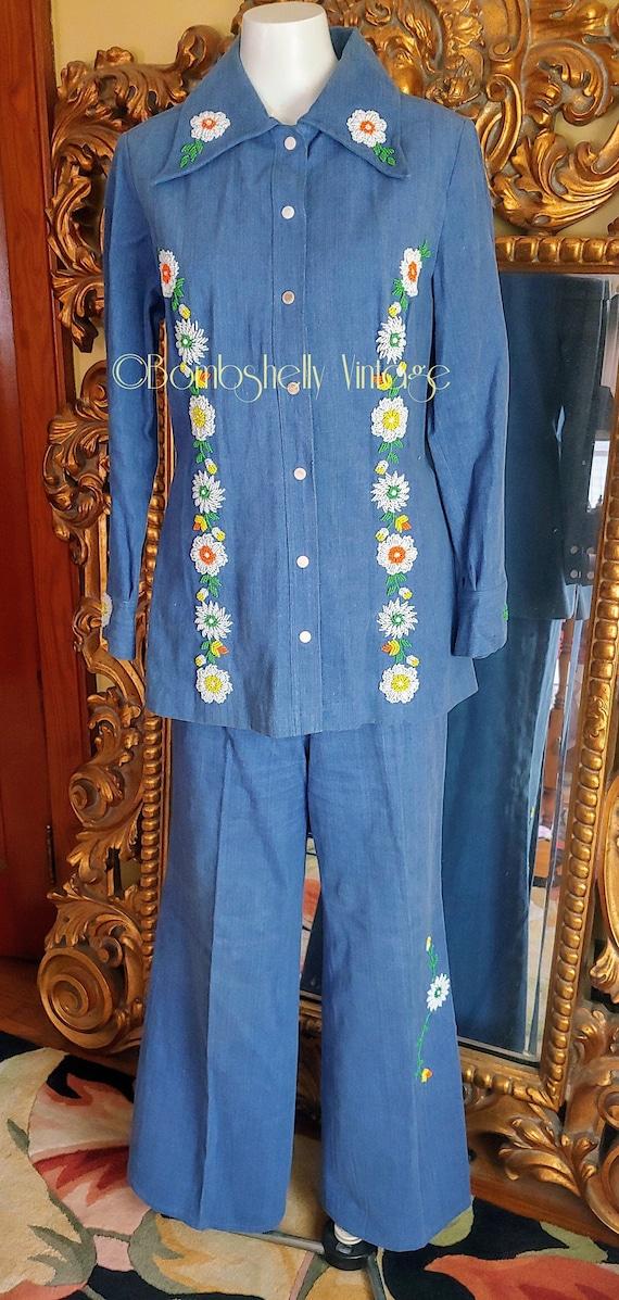 Vintage 70's Boutique International by Blossom Beaded Brush Denim Pants Suit
