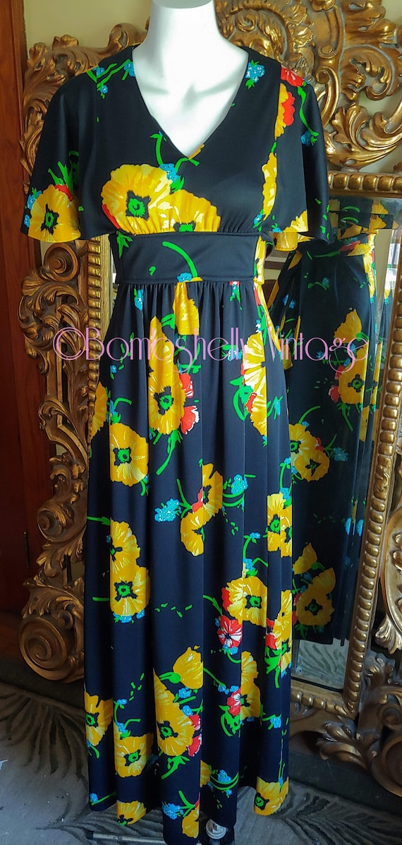 Vintage 70's Flutter Sleeve Black and Yellow Maxi