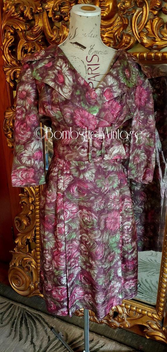 Vintage 50's Mancini Unique Watercolor Print Dress