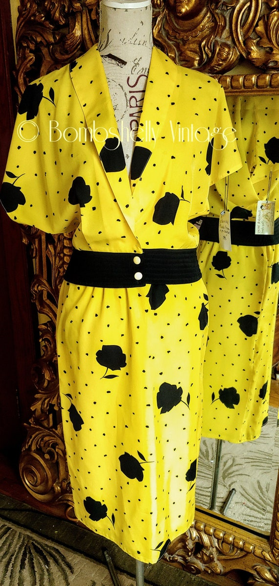 Vintage Marie France Bright Yellow and Black Two P