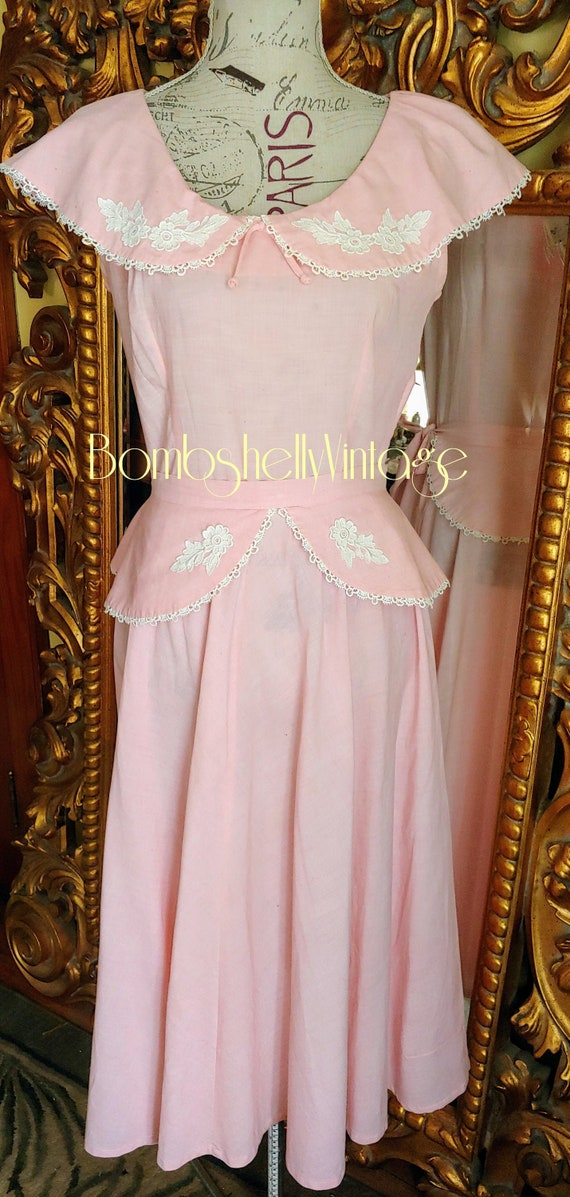 Vintage 40's Joan Miller Juniors Pink Linen Dress