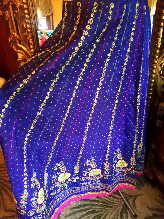 Vintage Indian Lehenga Sequined Embroidered long S
