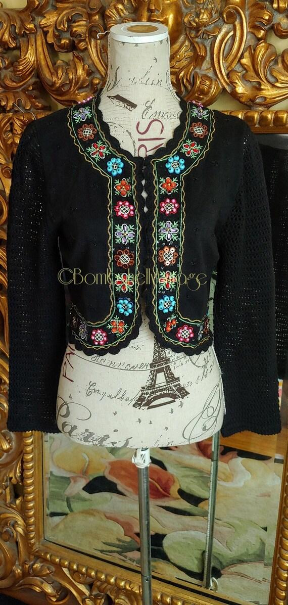 Vintage Berek Black Embroidered Beaded Boho Bolero