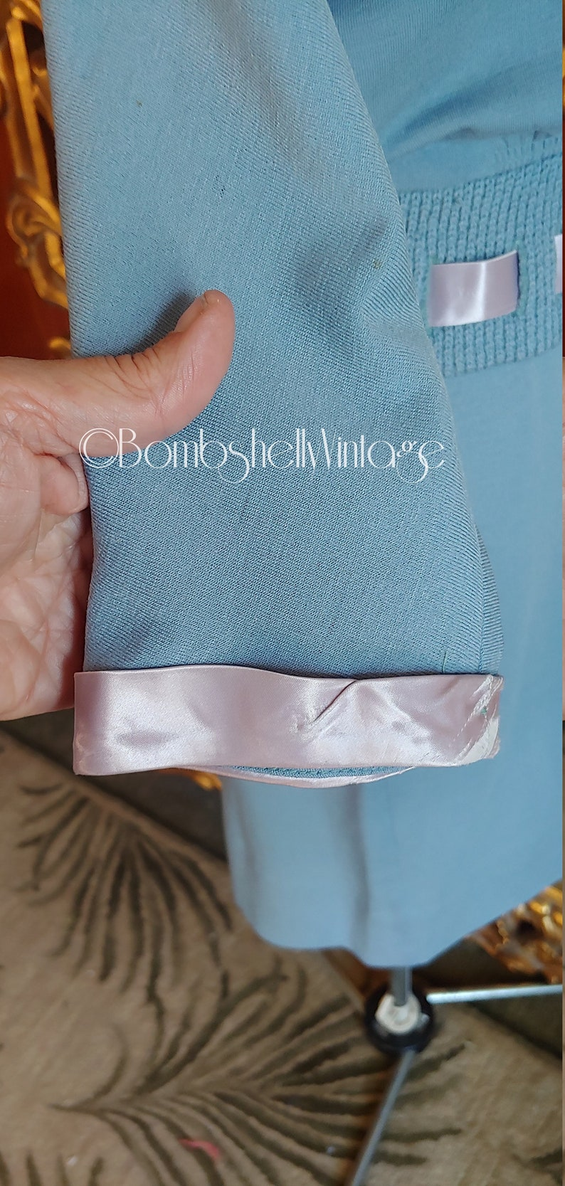 Vintage 50/'s Light Blue Wool 2 piece Sweater Skirt Set with Pink Satin Collar and Ribbon Trim
