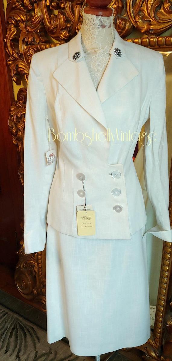 Vintage 40's White NOS Tailored by Mondrow Maxima