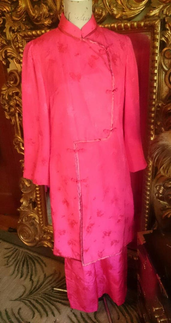 Vintage 1960's Dynasty 2 Piece Asian Pink Silk Lou