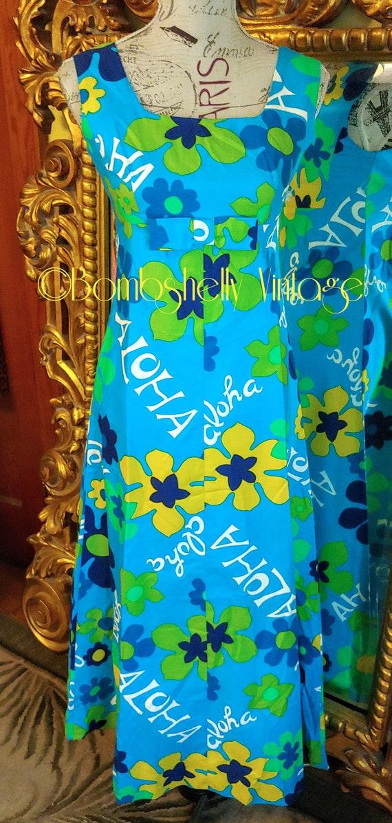 Vintage 60's Tiki Tohki Hawaii Aloha Maxi Dress