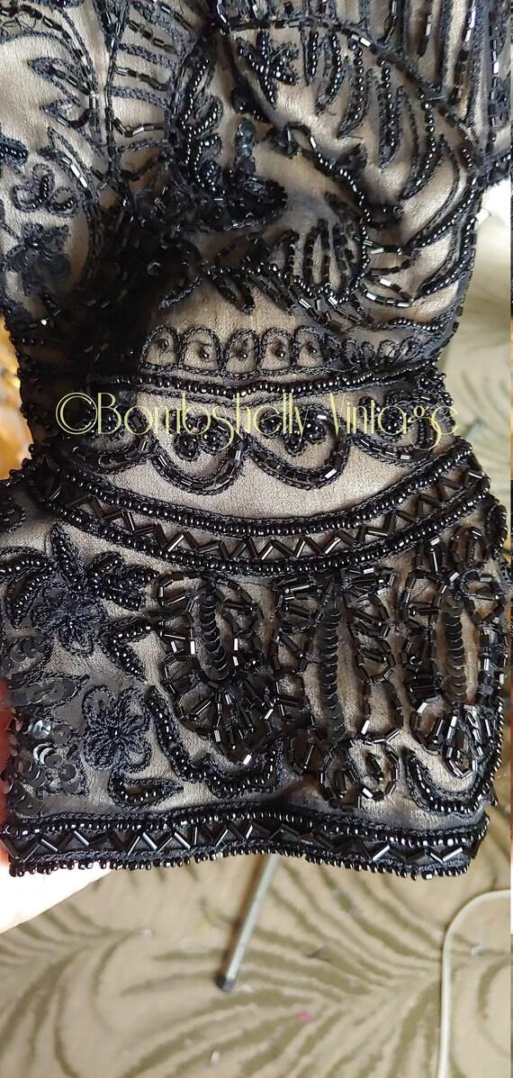 Incredible 20's/30's  Black Silk Beaded Jacket Bl… - image 8