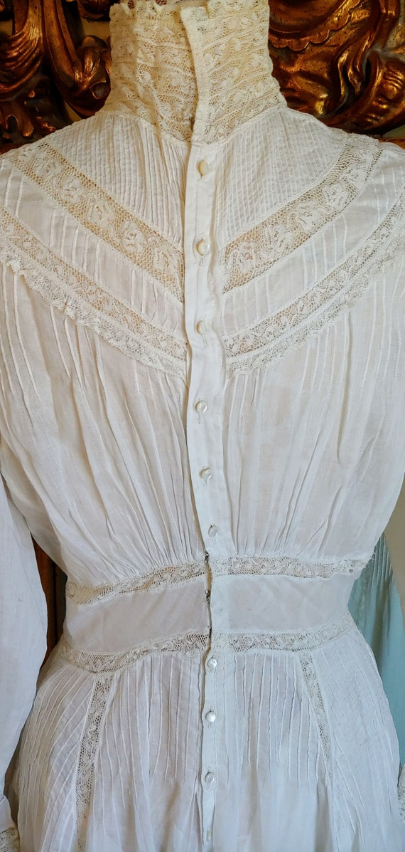 Antique 1890's White Cotton Victorian Wedding Dre… - image 6