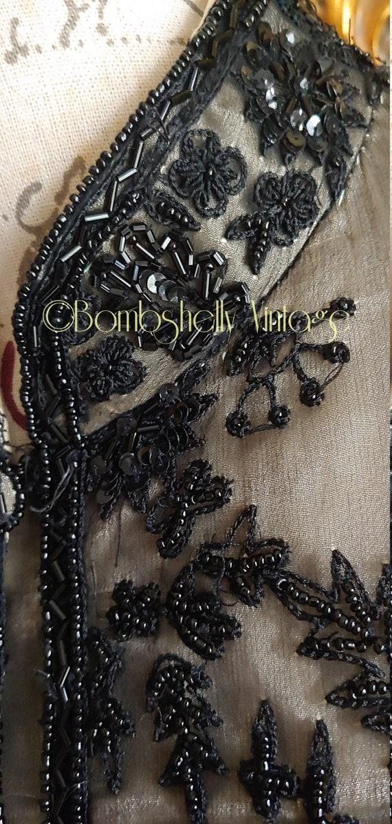 Incredible 20's/30's  Black Silk Beaded Jacket Bl… - image 10