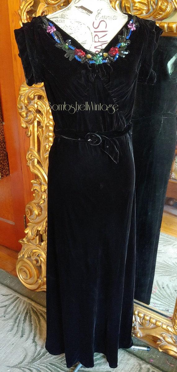 Vintage 1930's Black Velvet Bias Cut Sequin Gown a