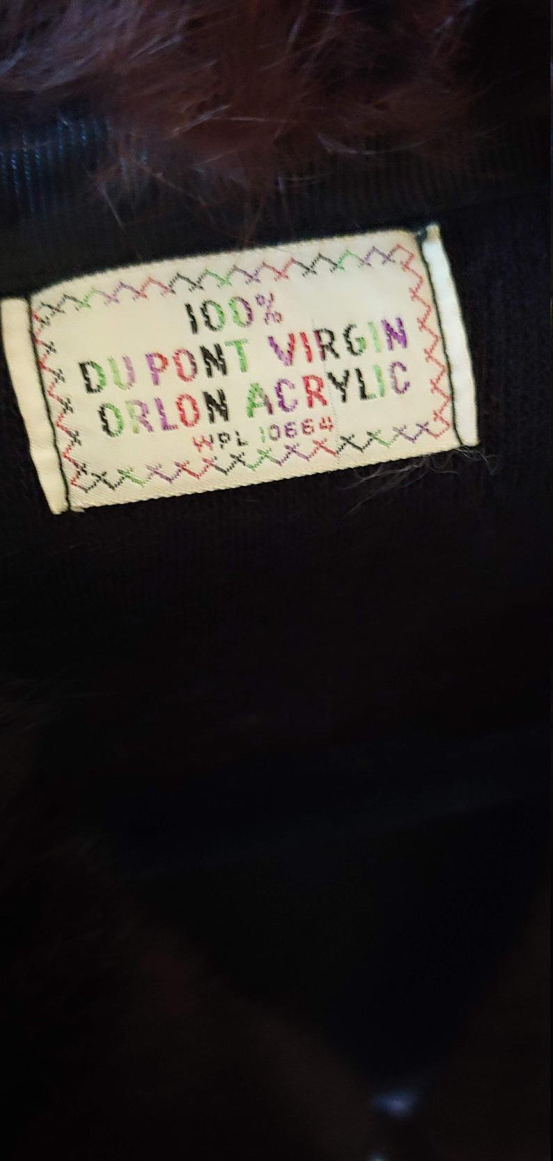 Beautiful 1950/'s Black Orlon Sweater With Rabbit Fur Collar