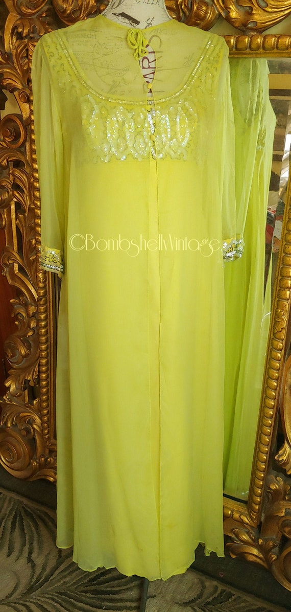 Vintage 60's Chartreuse Silk Chiffon Sequined Even